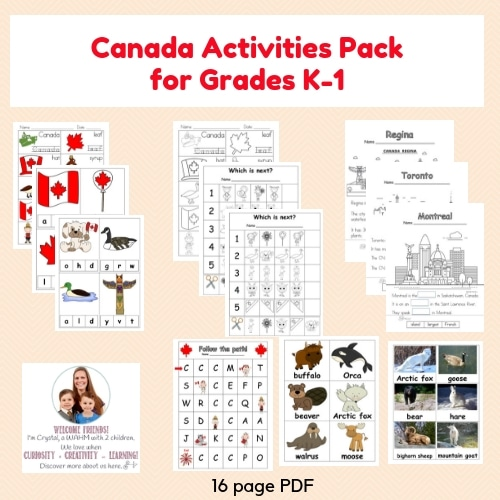 Canada-activities-pack-kindergarten-and-first-grade freebie