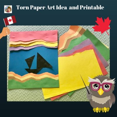 Torn Paper Project, and art project to accompany a beautifully illustrated children's picture book, O'Canada, free PDF