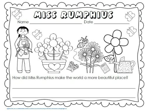 Miss Rumphius Write and Color Pages Freebie