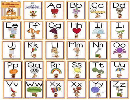 alphabet for owl theme classroom