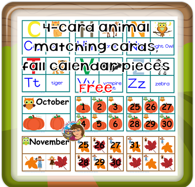 free-4-card-matching-animal-alphabet-october-theme-and-calendar-pieces