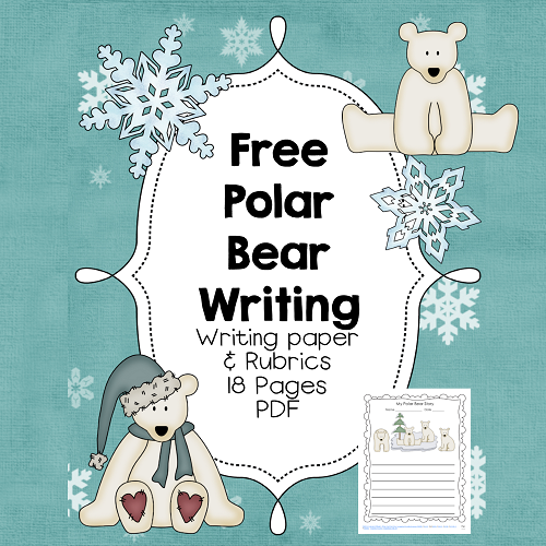 free Polar Bear writing paper with rubrics