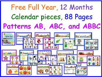 free full year of calendar pieces and headers, photo of pages in printable