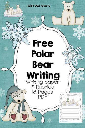 free-polar-bear-writing-frames-printable