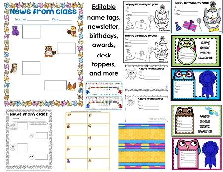 editable items included in owl class theme
