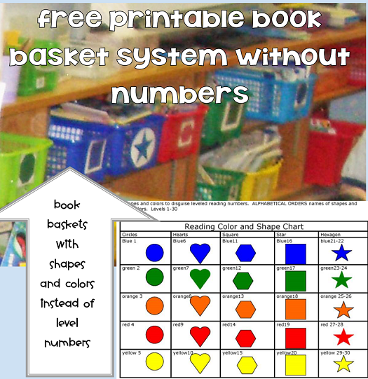 Color and Shapes Leveled Reading System Labels without Numbers