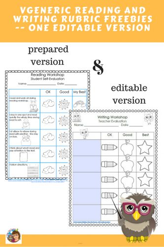 Primary Reading and Writing Rubrics Freebie reading and writing workshop rubrics which are nice for elementary ed observations