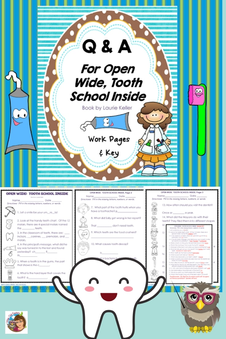 Free Printable for OPEN WIDE: Tooth School Inside---free work pages and answer key for this humorous children's book