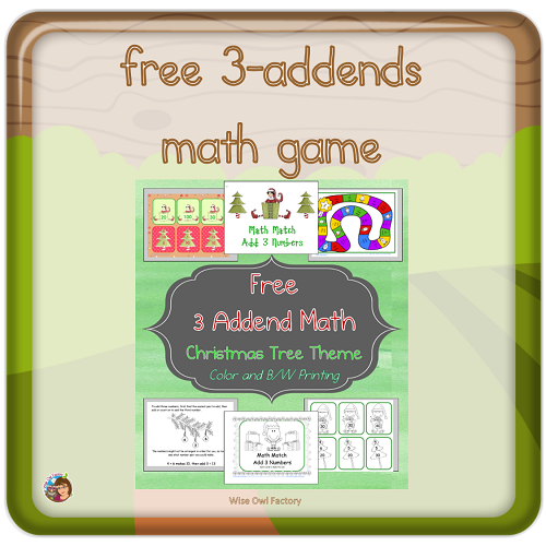 Three Addends Christmas Math Games Freebie