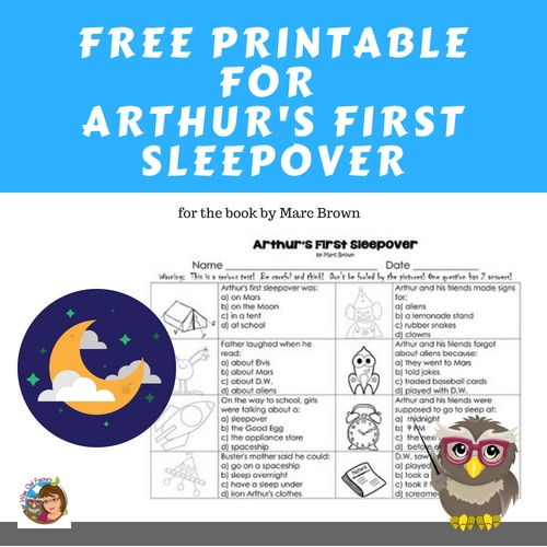 Free Printable for Arthur's First Sleepover