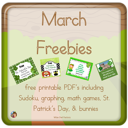 Free for March with book companions and other educational printables