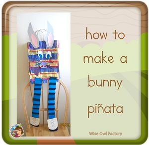 easy bunny pinata made from a simple grocery bag and not paper mache using leftover tissue paper