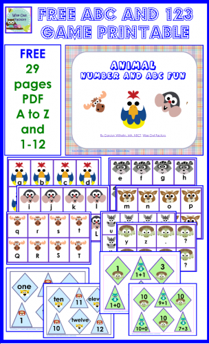 Free ABC and 123 Games Printable