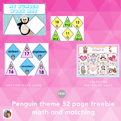 Free Valentine Penguin and Math Games -- anytime math to 20 penguin theme game, number words, facts, and Valentine matching