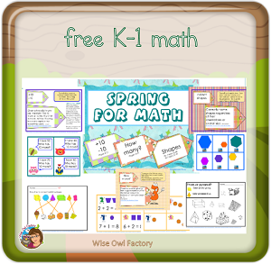 K-1 spring math theme free printable at blog post