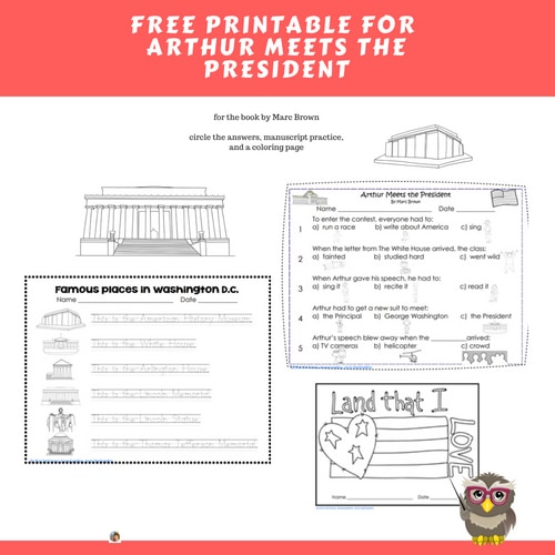 Arthur Meets the President Free Printable
