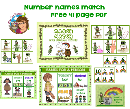 number names math matching game for March