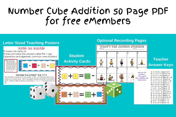 Dice Addition Common Core Activities cover page photo of free 50 page PDF packet