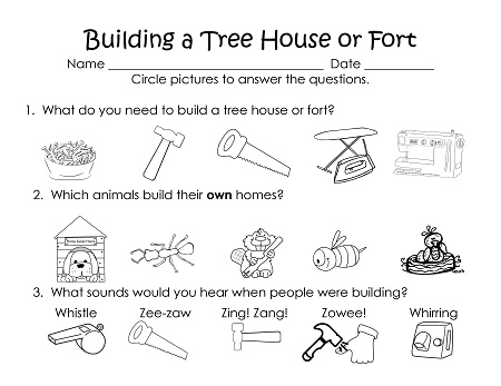 tools used in building, which animals make their own homes, sounds heard in building sites