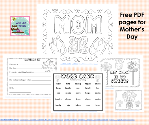 Mothers Day freebie PDF from Wise Owl Factory