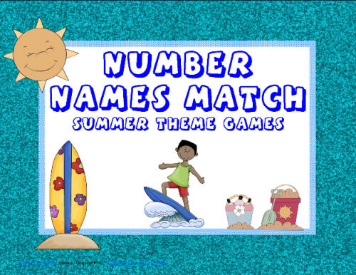 Free Summer Number Names Match Printable
