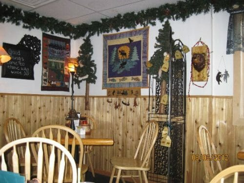 Corner table at the Lemon Wolf Cafe in Beaver Bay, MN, photo