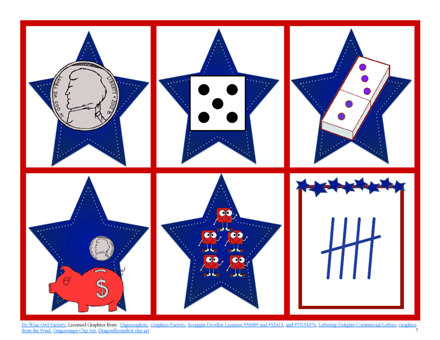 Free Patriotic Names for Numbers Math Game