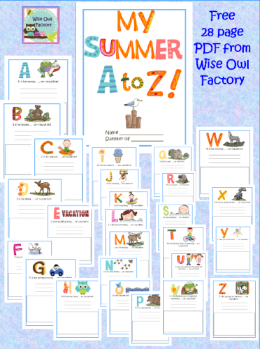 photo, My Summer Vacation A to Z Memory Book for writing and drawing in free PDF