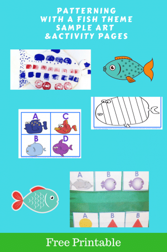 Free Patterning Printable for A, B, C, D Fish Theme - This post has a free patterning printable for A, B, C, D Fish Theme activities and art lesson. #patterning