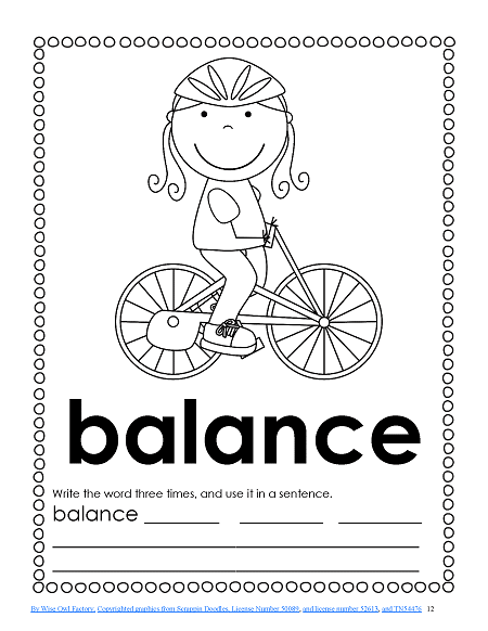 balance write the word three times and then write a sentence