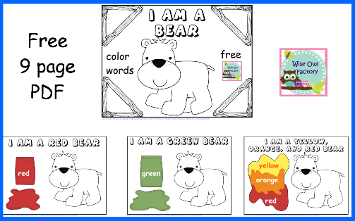 Free Bear Colors Preschool Printable Free PDF