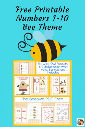 Printable Numbers 1-10 Bee Preschool Theme Free PDF • Wise Owl Factory
