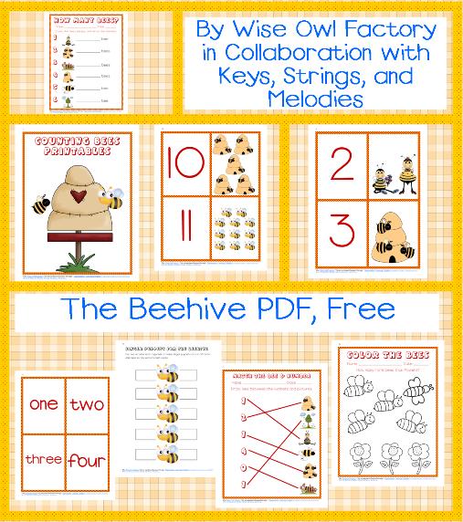 Printable Numbers 1-10 Bee Preschool Theme Free PDF