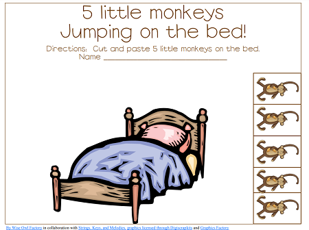 pages in the free PDF printable for 5 little monkeys jumping on the bed
