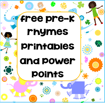 Pre-K and K Rhymes Free Resources