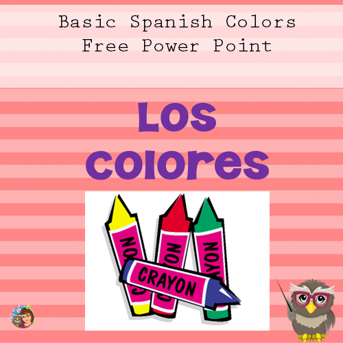 6 Spanish words color slides free Power Point