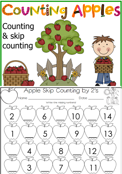 free apple skip counting work pages