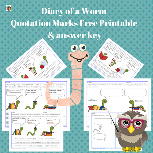 Diary of a Worm Free Punctuation Pages