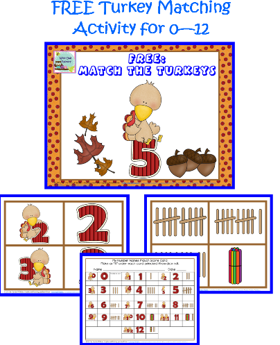 Turkey Number Matching Printable for 0 - 12 Free PDF