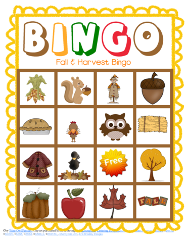 photo of sample game board for bingo