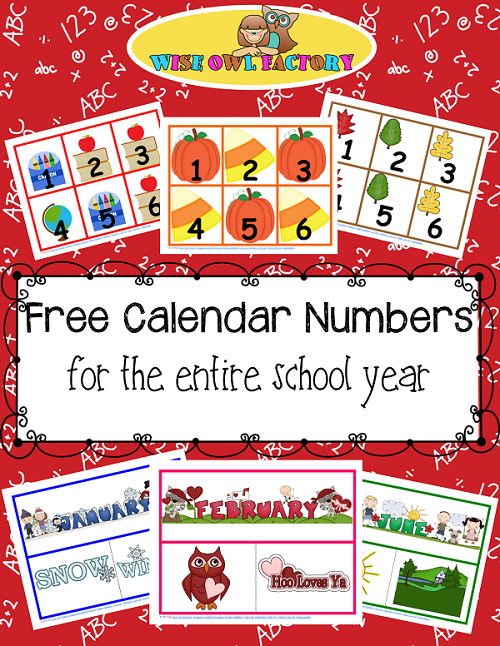 Full Year of Calendar Numbers Printable Free PDFs