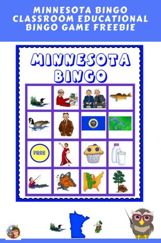 Free Minnesota Educational Bingo Game---for elementary grade levels---24 boards and all materials required for a game for the entire class.
