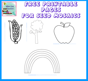 free printable to make seed mosaic pictures