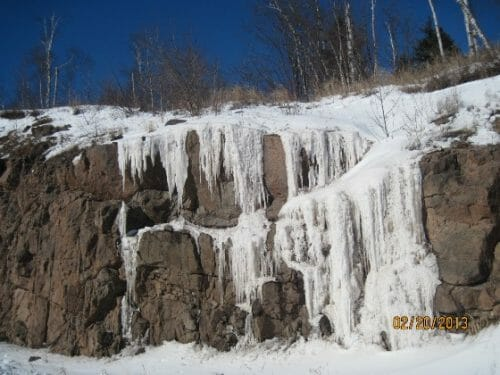 frozen ice on the rocky Grand Marais shore of Lake Superior