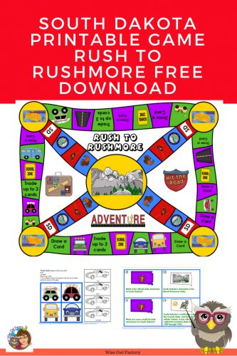 Free South Dakota Game Rush to Rushmore ----This post has a free South Dakota game printable, with black and white or color printing.