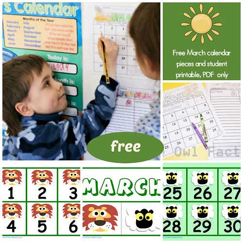 Free March Calendar Pieces and Calendars