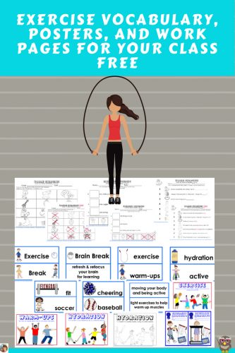 Free Printable with exercise vocabulary, posters, and work pages---lead exercises for your class after reading Wallie Exercises