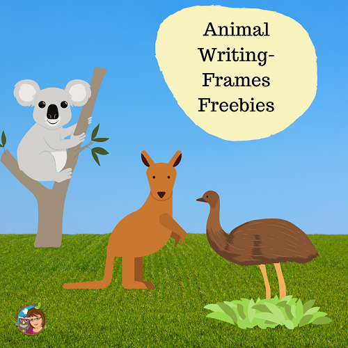 Free Emu, Koala, and Kangaroo Writing Frames, and many more animals for research or story writing