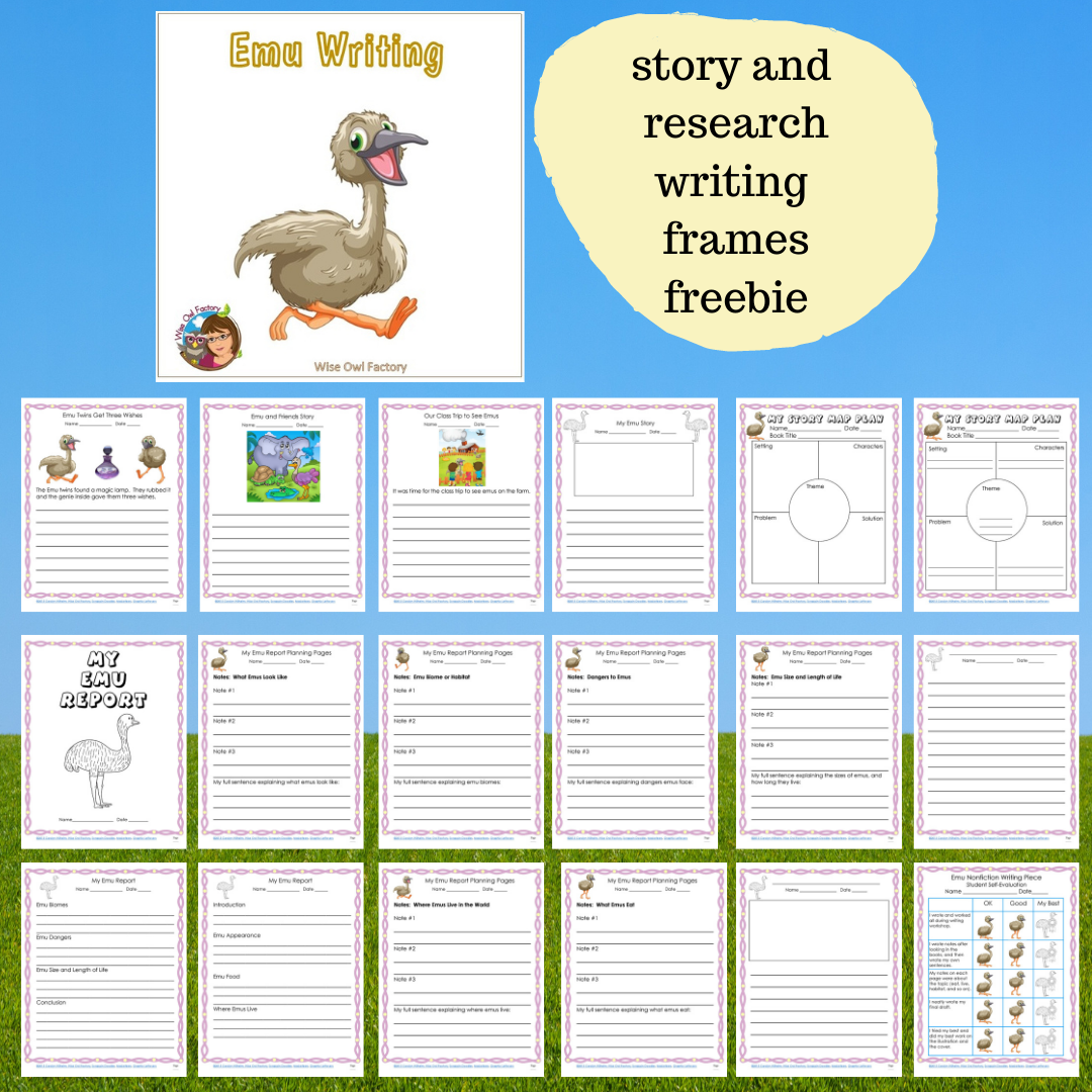 Free Emu, Koala, and Kangaroo Writing Frames