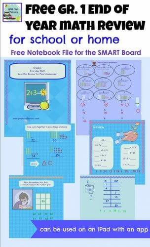 End of Grade 1 Math SMART Board Review Free